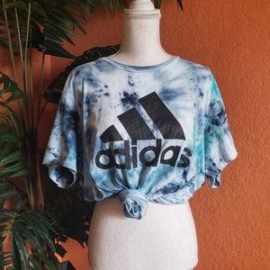 Custom Tie Dye Adidas Cotton Tee Pacific Blue XL